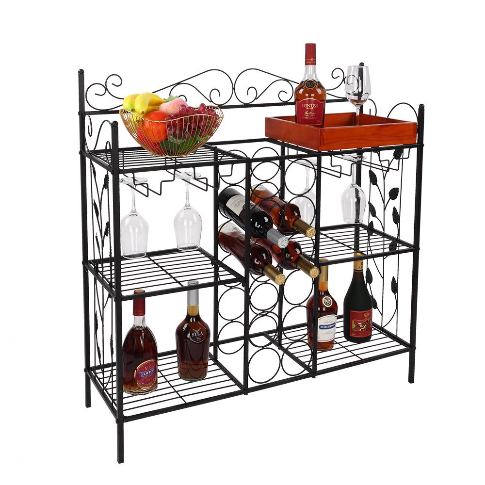 3-Tier Stackable Metal Wine Rack Free Standing Floor Wall